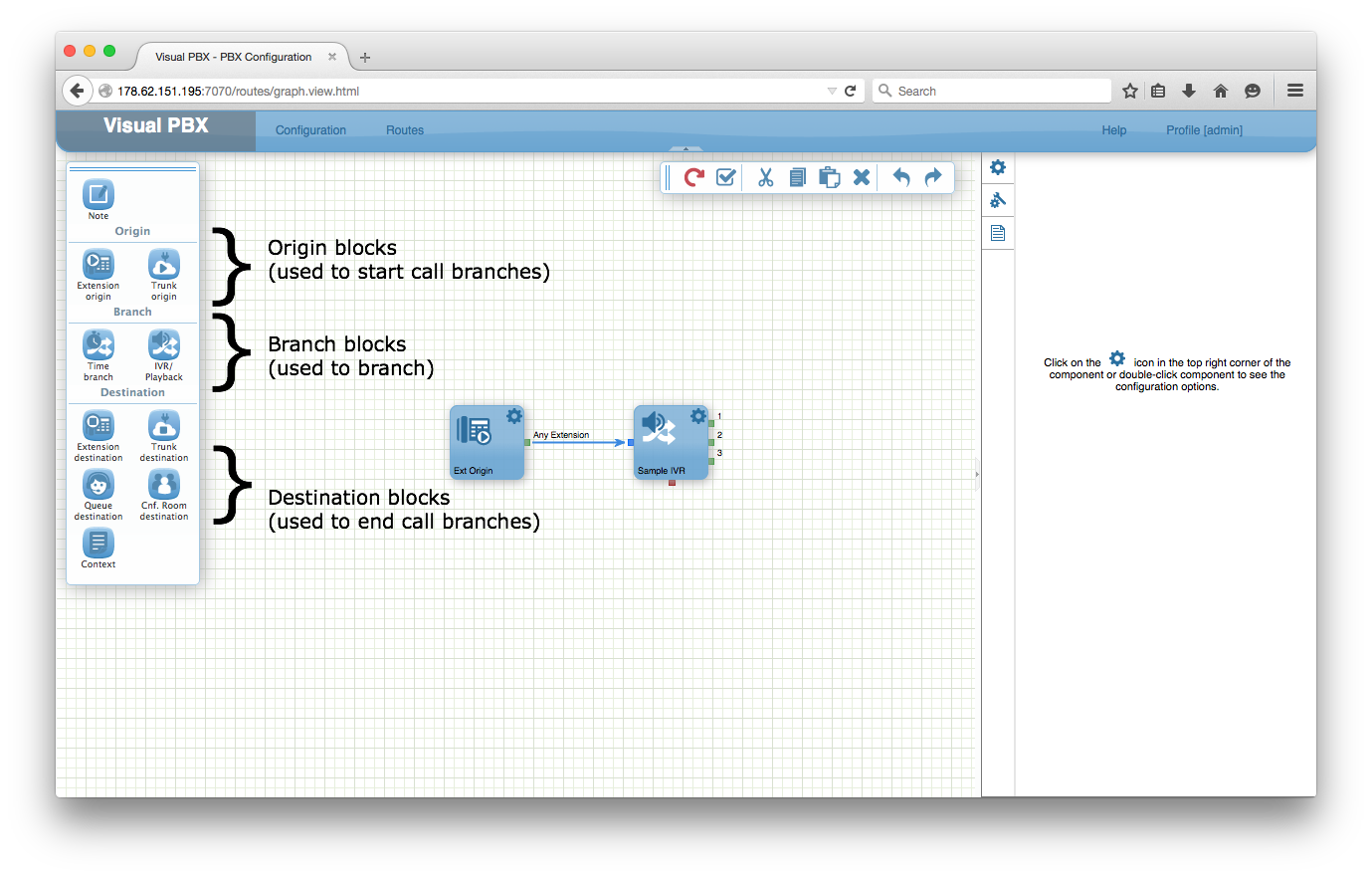 VisualPBX routing