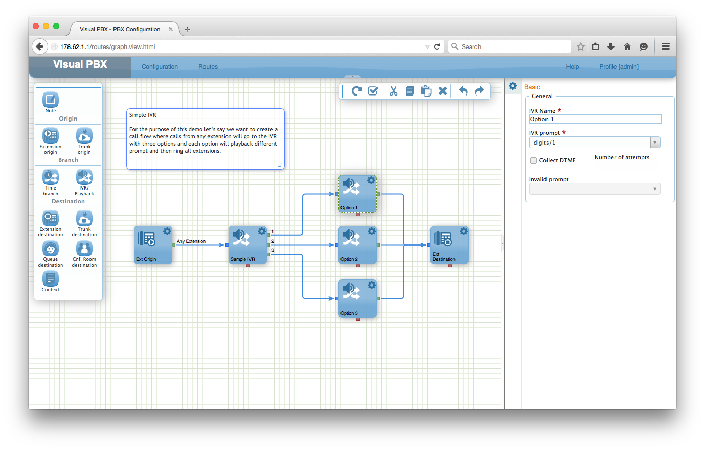 VisualPBX routing view, more details